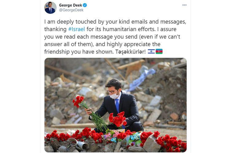 İsrail səfiri Azərbaycan xalqına təşəkkür edib